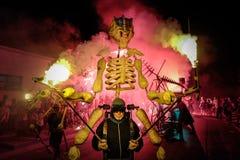 Pontedera, Centrum Sete Sois Sete Luas, fire show Avalot. Pontedera, Italy - July 14, 2016: The Avalot Fire show in Viale Rinaldo Piaggio in Pontedera, Tuscany stock image