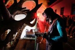 Pontedera, Centrum Sete Sois Sete Luas, fire show Avalot. Pontedera, Italy - July 14, 2016: The Avalot Fire show in Viale Rinaldo Piaggio in Pontedera, Tuscany royalty free stock photo
