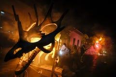 Pontedera, Centrum Sete Sois Sete Luas, fire show Avalot. Pontedera, Italy - July 14, 2016: The Avalot Fire show in Viale Rinaldo Piaggio in Pontedera, Tuscany stock photos