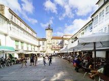 Pontedeume, Galicie/Espagne 29 juillet 2017 Place avec le sto Image stock