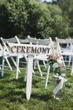 Ponteiro à cerimônia de casamento nas madeiras Fotografia de Stock