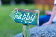 Ponteiro ao trajeto Palavra feliz Imagens de Stock Royalty Free