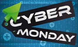 Ponteiro com preços e projeto de Digitas para o Cyber segunda-feira, ilustração do vetor ilustração stock