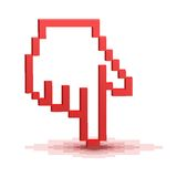 Ponteiro da mão do cursor do pixel Imagem de Stock Royalty Free