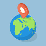 Ponteiro de GPS na terra do planeta Conceito da navegação Fotos de Stock Royalty Free