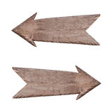 Ponteiro de madeira ao direita e esquerdo Imagens de Stock