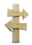 Ponteiro de madeira em um branco 3d Foto de Stock Royalty Free