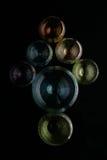 Ponteiro de seta construído de vidros coloridos Fotos de Stock Royalty Free