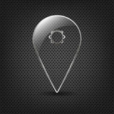 Ponteiro de vidro do Pin do mapa em um fundo do metal Imagem de Stock