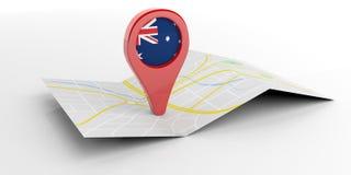 Ponteiro do mapa de Austrália no fundo branco ilustração 3D Fotografia de Stock