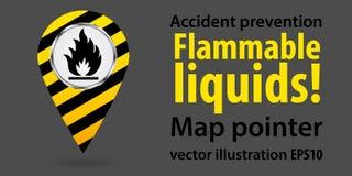 Ponteiro do mapa Líquidos inflamáveis Informação de segurança Projeto industrial Graphhics do vetor Imagens de Stock Royalty Free