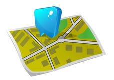 Ponteiro no mapa Imagens de Stock