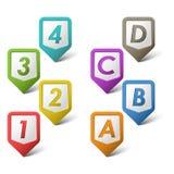 Ponteiros coloridos do grupo com números e letras Imagem de Stock
