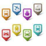 Ponteiros coloridos do grupo para o transporte Foto de Stock Royalty Free