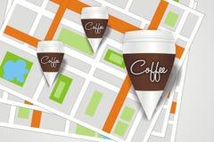 Ponteiros do café com mapas Fotografia de Stock Royalty Free