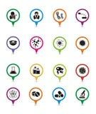 Ponteiros do mapa da biotecnologia Fotos de Stock Royalty Free