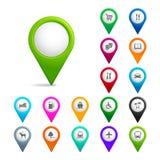 Ponteiros do mapa do vetor Imagem de Stock