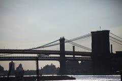 Pontes de Brooklyn e de Manhattan Imagens de Stock