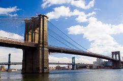 Pontes de Brooklyn e de Manhattan Foto de Stock Royalty Free