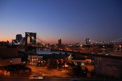 Pontes de Brooklyn e de Manhattan, New York Fotografia de Stock