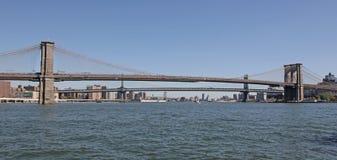Pontes de Brooklyn e de Manhattan, NYC Imagens de Stock