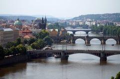 Pontes de Veltava em Praga Fotografia de Stock