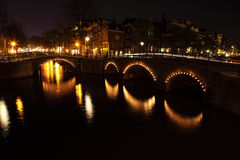Pontes na noite Fotos de Stock Royalty Free