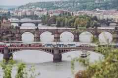 Pontes, outono em Praga, República Checa Imagem de Stock