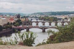 Pontes, outono em Praga, República Checa Foto de Stock Royalty Free