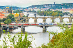 Pontes, outono em Praga, República Checa Fotografia de Stock Royalty Free