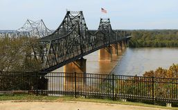 Pontes sobre o rio Mississípi em Vicksburg fotografia de stock