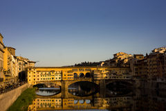 Pontevecchio, Florence. WS - The Pontevecchio bridge over the River Arne - Flume Arno in the heart of Florence - Firenze - italy.  Golden hour Royalty Free Stock Photo