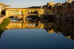 Pontevecchio, Florence. WS - The Pontevecchio bridge over the River Arne - Flume Arno in the heart of Florence - Firenze - italy.  Golden hour Stock Photography