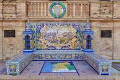 Pontevedra επαρχία, βερνικωμένος πάγκος κεραμιδιών στην πλατεία της Ισπανίας, Σεβίλη Στοκ φωτογραφίες με δικαίωμα ελεύθερης χρήσης