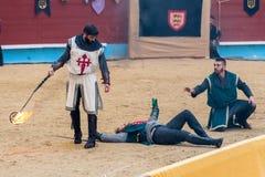 Pontevedra, Espanha - 3 de setembro de 2016: Festival do competiam medieval dos cavaleiros Imagens de Stock Royalty Free