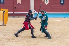 Pontevedra, Espanha - 3 de setembro de 2016: Festival do competiam medieval dos cavaleiros Fotografia de Stock Royalty Free
