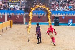 Pontevedra, Espanha - 3 de setembro de 2016: Festival do competiam medieval dos cavaleiros Foto de Stock