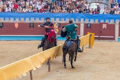 Pontevedra, Espanha - 3 de setembro de 2016: Festival do competiam medieval dos cavaleiros Fotos de Stock Royalty Free