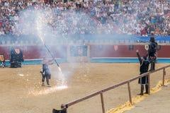 Pontevedra, Espanha - 3 de setembro de 2016: Festival do competiam medieval dos cavaleiros Imagem de Stock Royalty Free