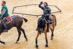 Pontevedra, Espanha - 3 de setembro de 2016: Festival do competiam medieval dos cavaleiros Foto de Stock Royalty Free