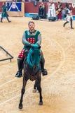 Pontevedra, Espanha - 3 de setembro de 2016: Festival do competiam medieval dos cavaleiros Fotos de Stock