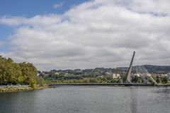 Cable stayed bridge over the river Lerez in Pontevedra. Pontevedra, Galicia, Spain; Septiembre 2018: View of one of the Suspenders Cable-Stayed Bridge, which royalty free stock images