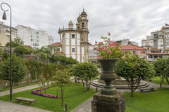 Pontevedra. Peregrina Church at Pontevedra city. Selective focus on the foreground amphora Royalty Free Stock Photo