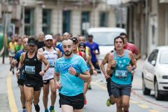 Detail of the participants of the half Marathon city of Pontevedra royalty free stock image
