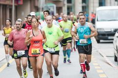 Detail of the participants of the half Marathon city of Pontevedra stock photography