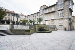 Detail of the city of Pontevedra Spain. PONTEVEDRA, SPAIN - FEBRUARY 2, 2016: One of the central streets in the historic center of the city royalty free stock photos
