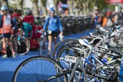 Race bikes parked pf Triathlon. PONTEVEDRA, SPAIN - MAY 22, 2016: Race bikes parked in the Championship of Spain Triathlon Relay held in the city stock photography