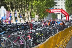 Race bikes parked pf Triathlon. PONTEVEDRA, SPAIN - MAY 22, 2016: Race bikes parked in the Championship of Spain Triathlon Relay held in the city royalty free stock images