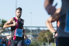 Athletes running in the half marathon stock photography