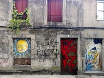 Pontevedra, Spain; 08/09/2018: Old building with grafitti stock photo